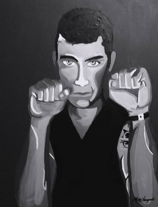 Boxer Poster featuring the painting Boxer Monotone by Misty VanPool