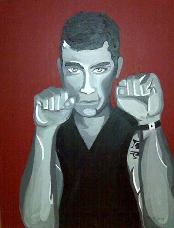 Boxer Poster featuring the painting Boxer Sees Red by Misty VanPool