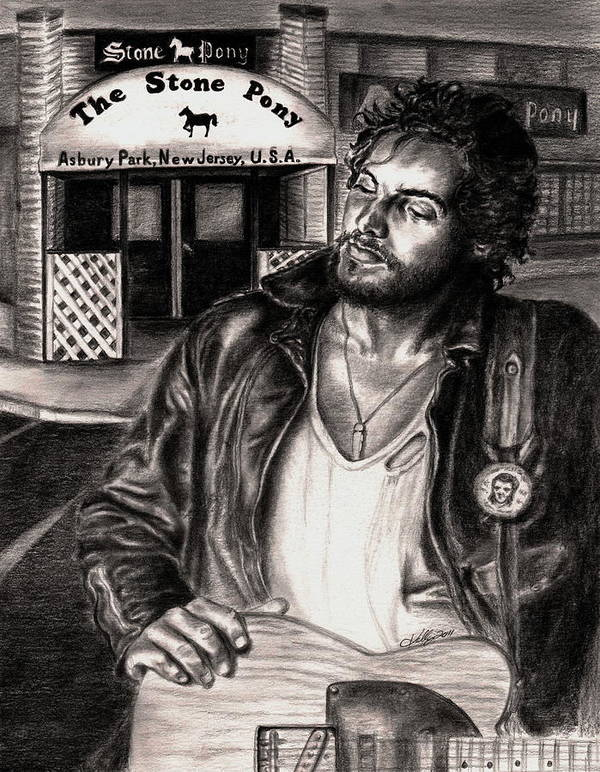 Bruce Springsteen Poster featuring the drawing Bruce Springsteen by Kathleen Kelly Thompson