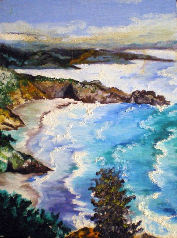 California Poster featuring the painting California Coastline by Tammera Malicki-Wong