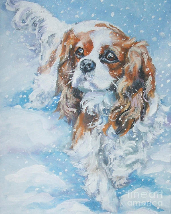 Cavalier King Charles Spaniel Poster featuring the painting Cavalier King Charles Spaniel Blenheim In Snow by Lee Ann Shepard