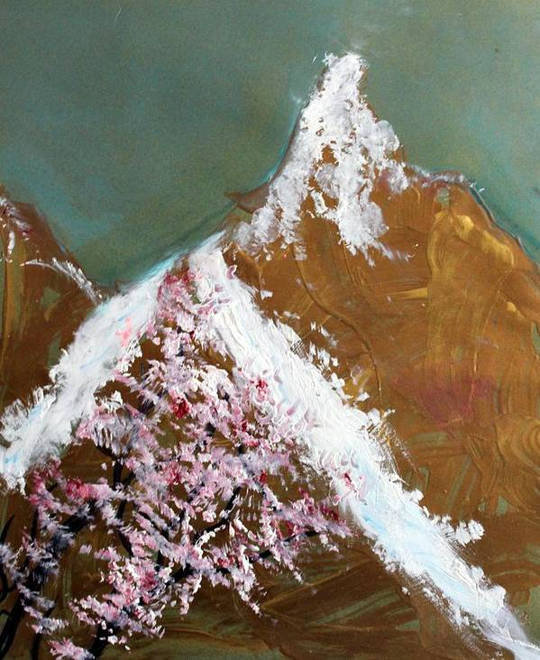 Landscape Poster featuring the painting Cherry Blossoms On Gold Mountain by Michela Akers
