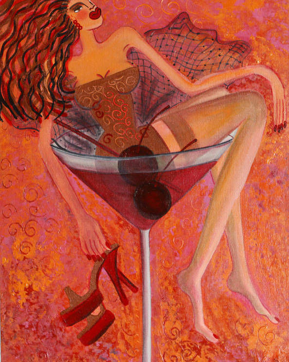 Martini Artwork Poster featuring the painting Cherry Cosmotini by Helen Gerro