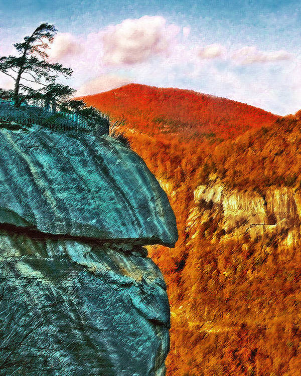 Landscape Poster featuring the painting Chimney Rock by Steve Karol