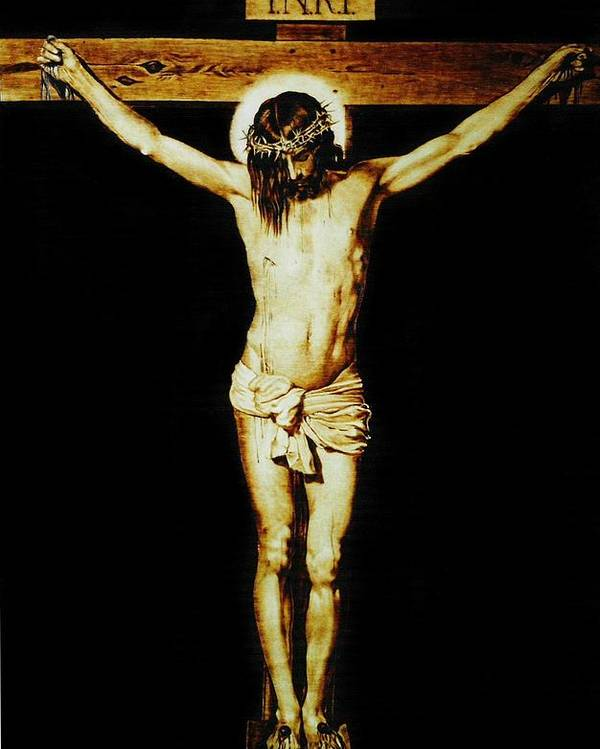 Dino Muradian Poster featuring the pyrography Christ On The Cross by Dino Muradian