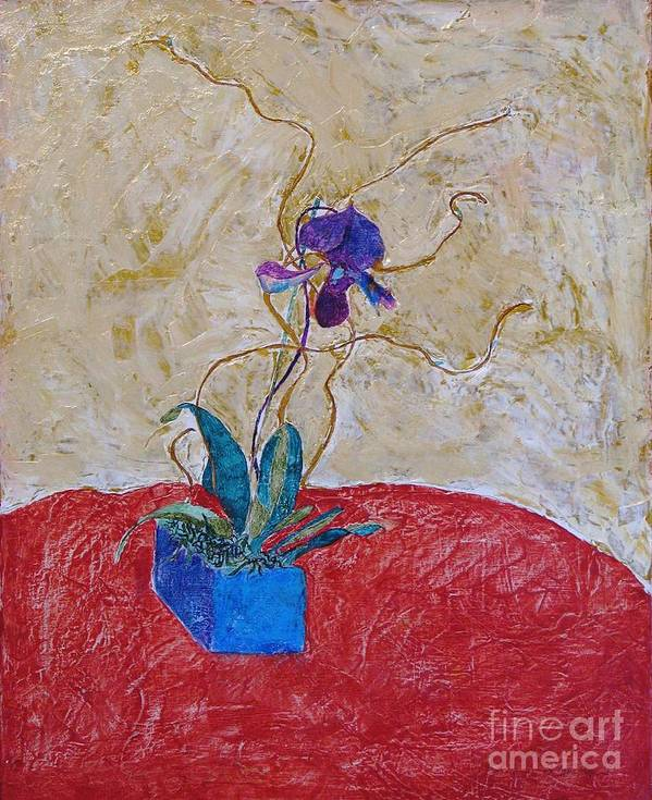 Abstract Poster featuring the painting Christmas Orchid by James SheppardIII