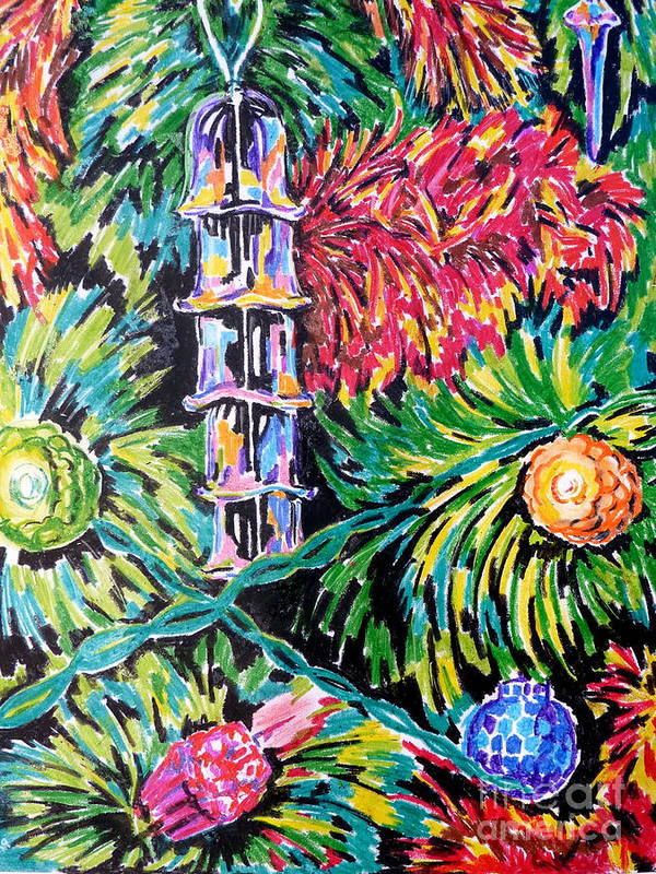 Tree Christmas Lights Tinsel Xmas Baubles Glass Colour Poster featuring the pastel Christmas Tree by Debbie Diamond