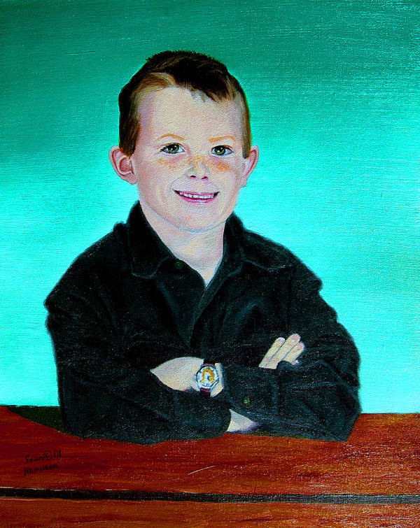 Child Portrait Poster featuring the painting CJ by Stan Hamilton
