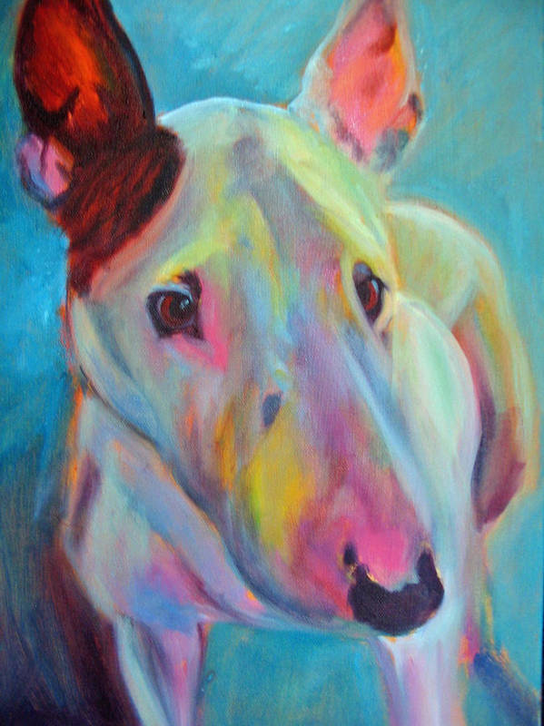 English Bull Terrier Portrait Poster featuring the painting Clem by Kaytee Esser