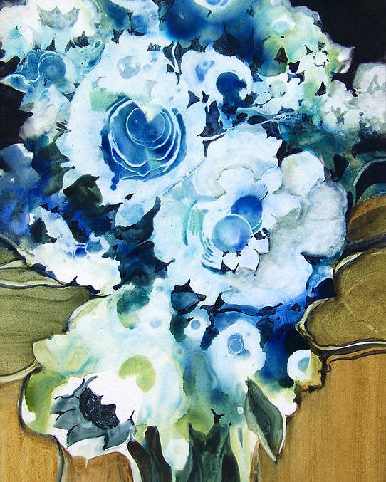 Contemporary;floral;flowers;abstract; Poster featuring the painting Contemporary Floral In Blue And White by Lois Mountz