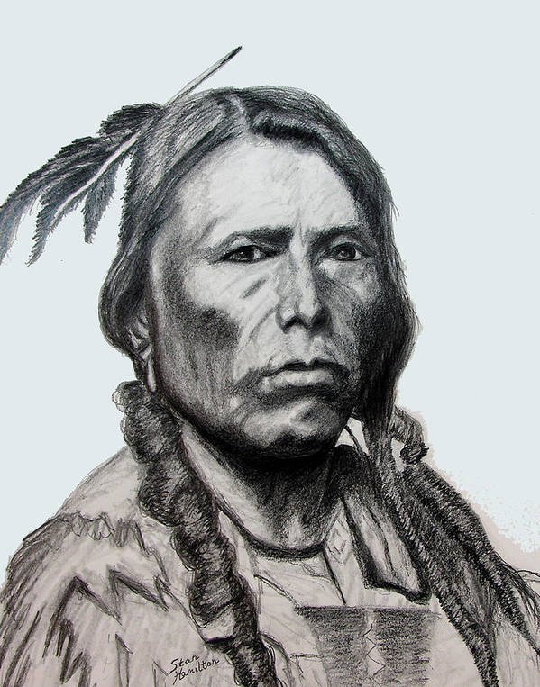 Indian Portrait Poster featuring the drawing Crazy Horse by Stan Hamilton