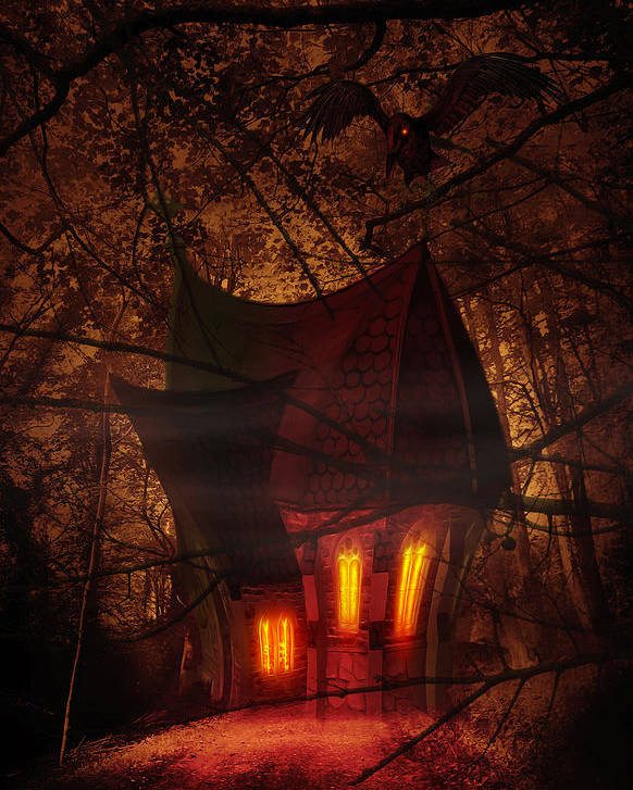 Abandoned Poster featuring the digital art Crooked House by Svetlana Sewell