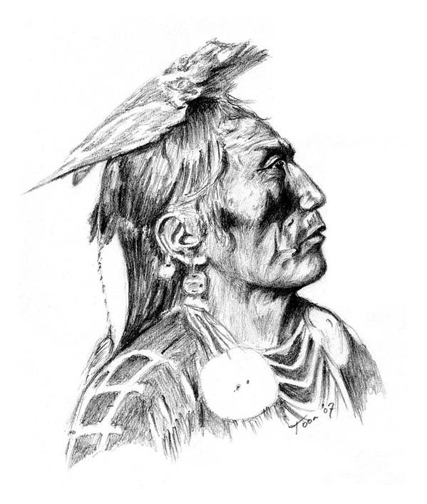 Portraits Poster featuring the drawing Crow Medicine Man by Toon De Zwart