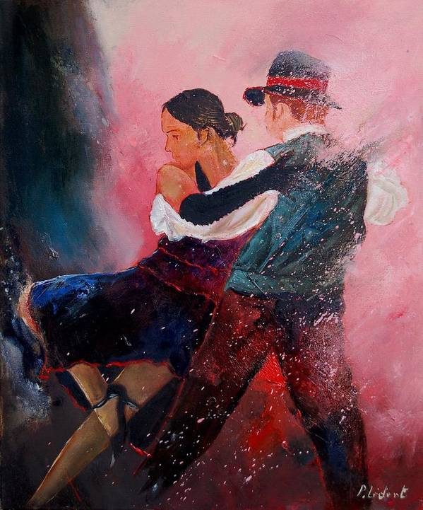 Music Poster featuring the painting Dancing Tango by Pol Ledent