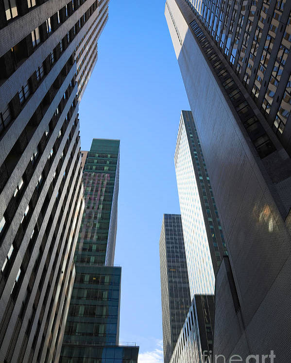 America Poster featuring the photograph Dark Manhattan Skyscrapers by Jannis Werner