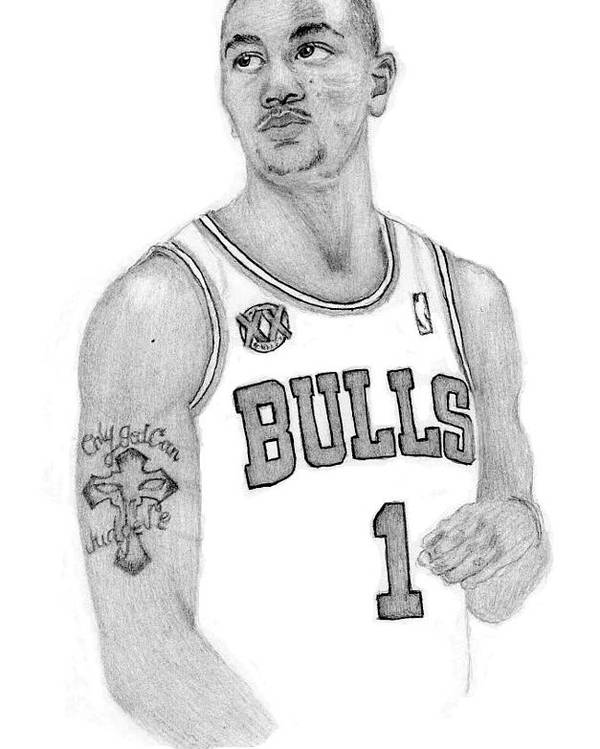 Derrick Rose Poster featuring the drawing Derrick Rose by Kiyana Smith