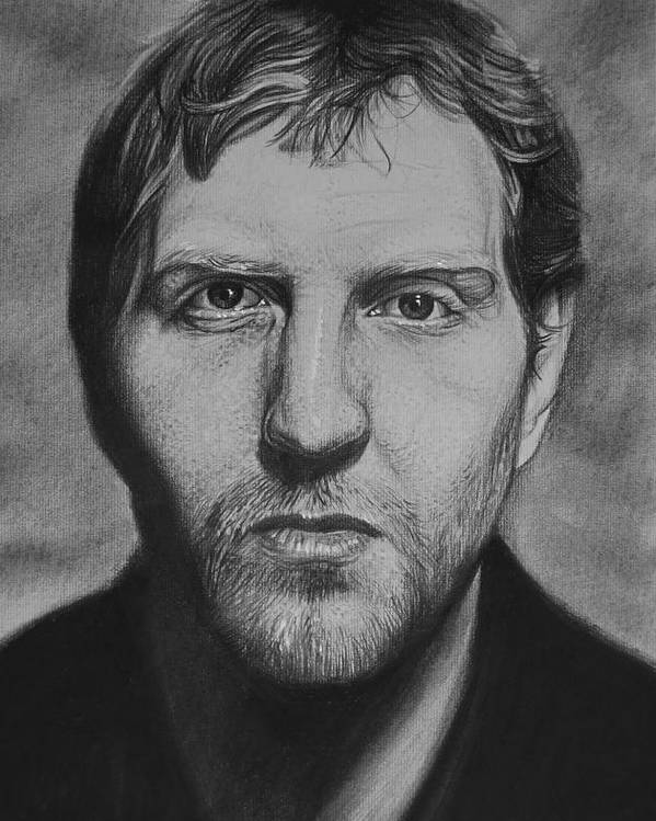 Dirk Nowitzki Charcoal Portrait Basketball Dallas Mavericks Sports Art Poster featuring the drawing Dirk by Steve Hunter