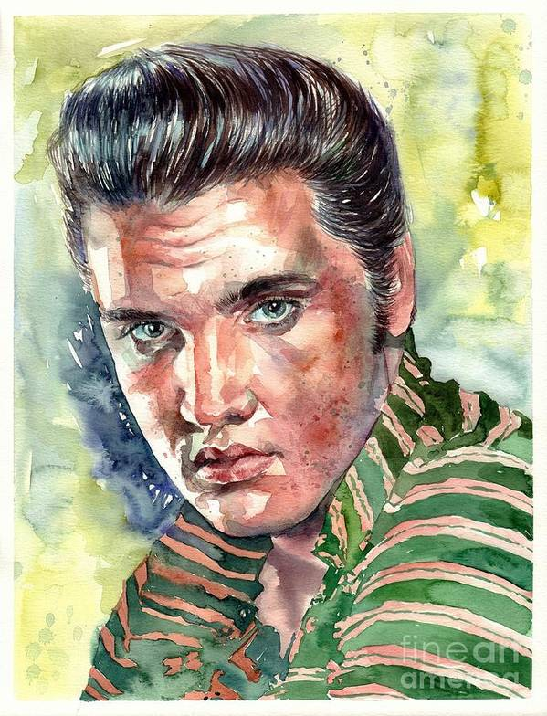 Elvis Poster featuring the painting Elvis Presley portrait by Suzann Sines