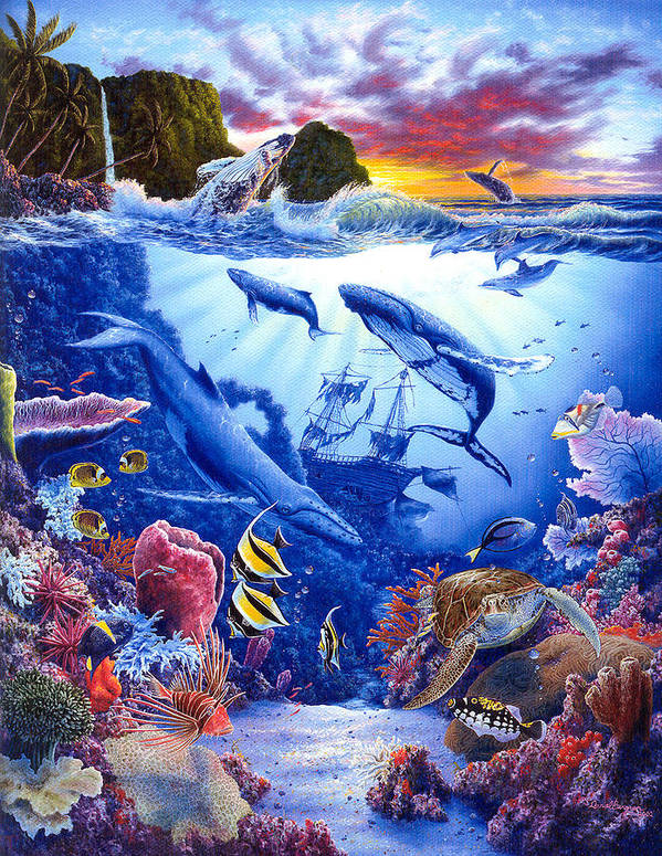 Dolphin Poster featuring the painting Enchanted Sea by Daniel Bergren