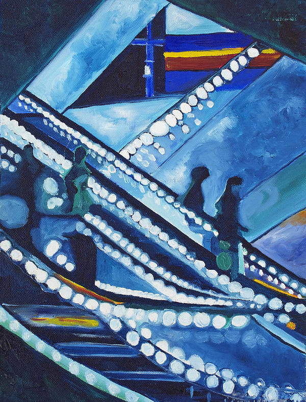Night Scenes Poster featuring the painting Escalator Lights by Patricia Arroyo