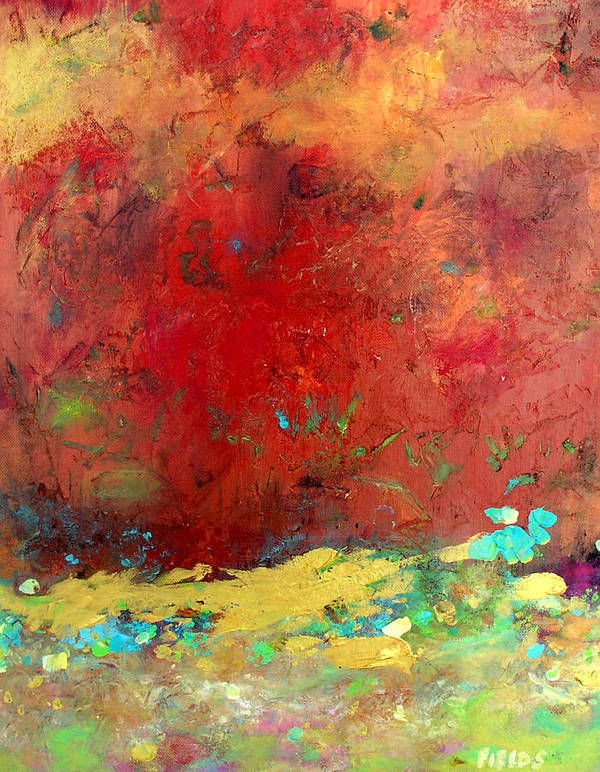 Organic Abstract Poster featuring the painting Experiences by Karen Fields