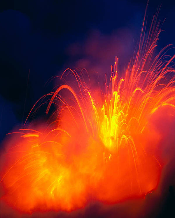 A28g Poster featuring the photograph Exploding Lava by Greg Vaughn - Printscapes