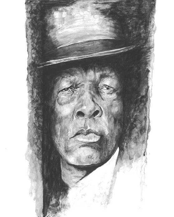 Musician Poster featuring the digital art Face Of The Blues - John Lee Hooker by William Walts