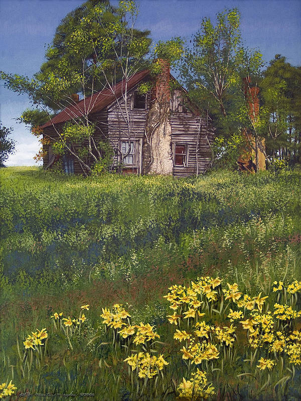 Landscape Poster featuring the painting Fairplay Farmhouse by Peter Muzyka
