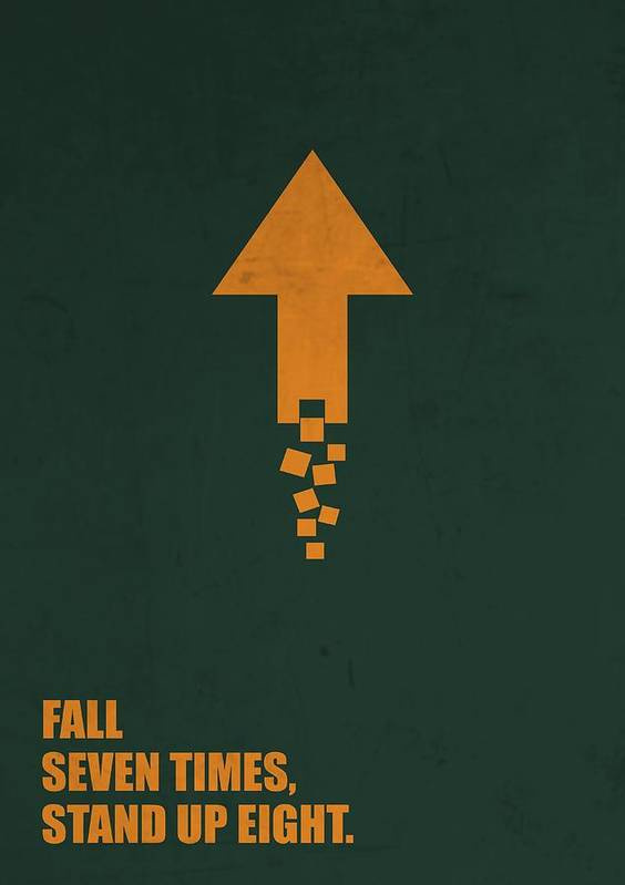 Fall Seven Times Stand Up Eight Corporate Start Up Quotes Poster