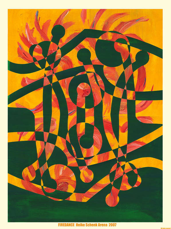 Collage.abstract Poster featuring the mixed media Firedance by Heike Schenk-Arena