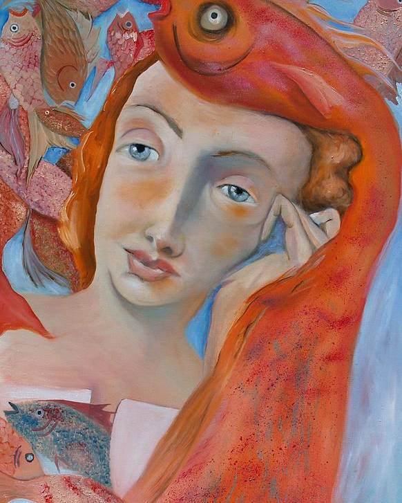 Girl Poster featuring the painting Fish Thoughts by Niki Sands