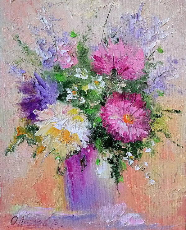 Flowers Poster featuring the painting Flowers by Olha Darchuk