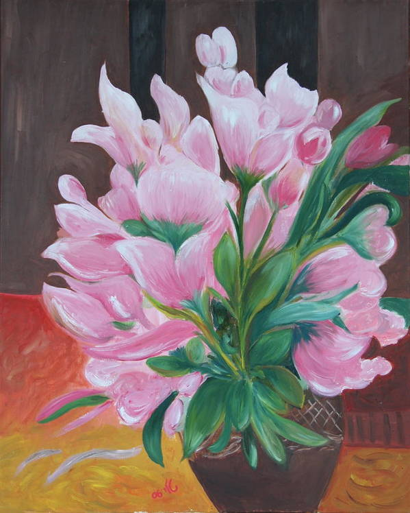 Flowers Poster featuring the painting Flowers by Taly Bar