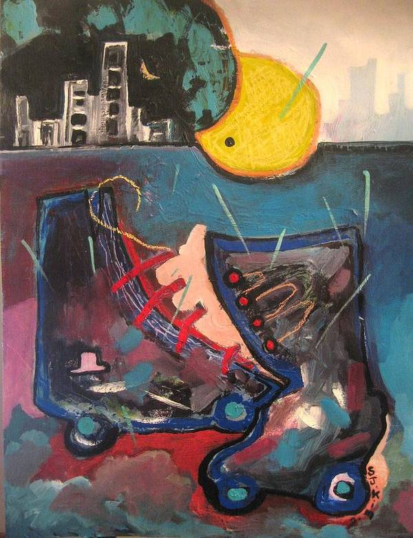 Abstract Paintings Poster featuring the painting Forgotten Days by Seon-Jeong Kim