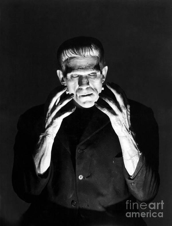 Frankensteins Poster featuring the photograph Frankensteins Monster Boris Karloff by R Muirhead Art