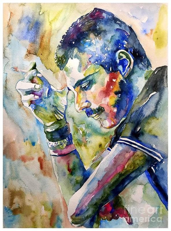 Freddie Poster featuring the painting Freddie Mercury watercolor by Suzann Sines