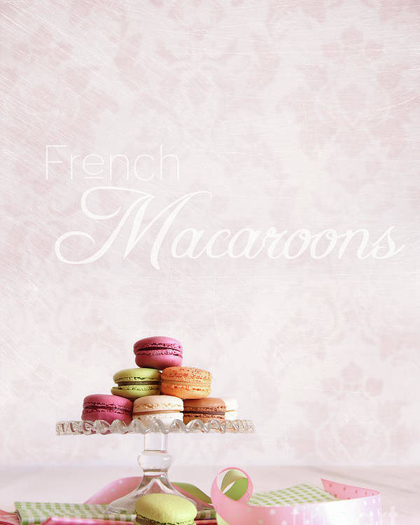 Afternoon Poster featuring the photograph French Macaroons On Dessert Tray by Sandra Cunningham