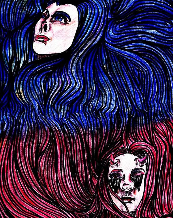 Poster featuring the drawing Gemini by Kaylyn Groom
