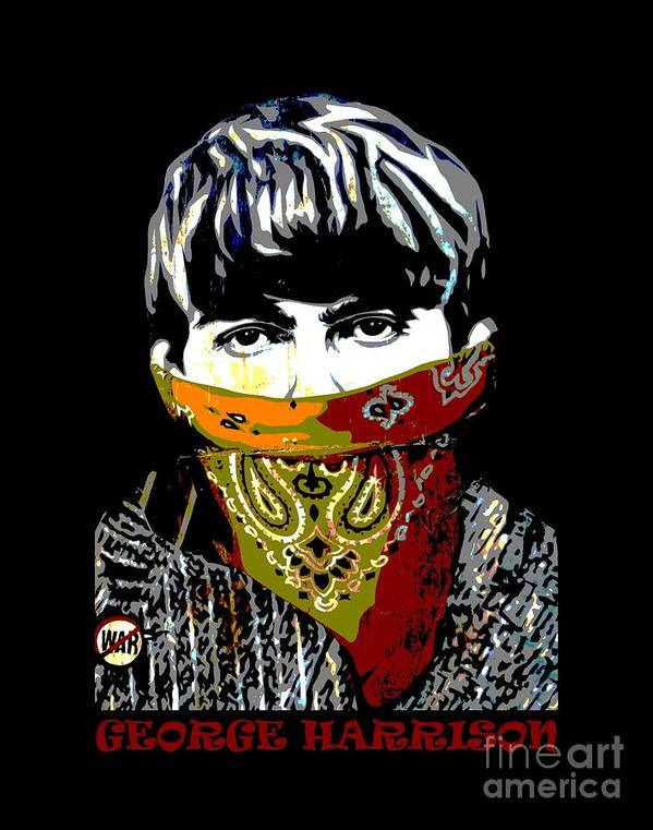 Banksy Poster featuring the photograph George Harrison wearing a face mask by RicardMN Photography