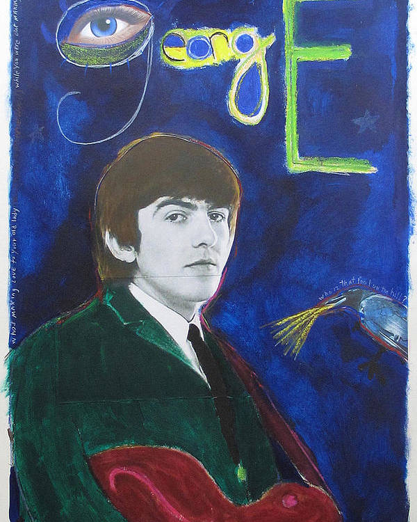 Beatles Poster featuring the painting George by Mike Mitch