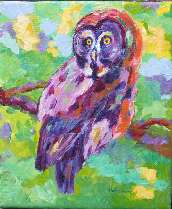 Owl Poster featuring the painting Great Gray Owl by Naomi Gerrard