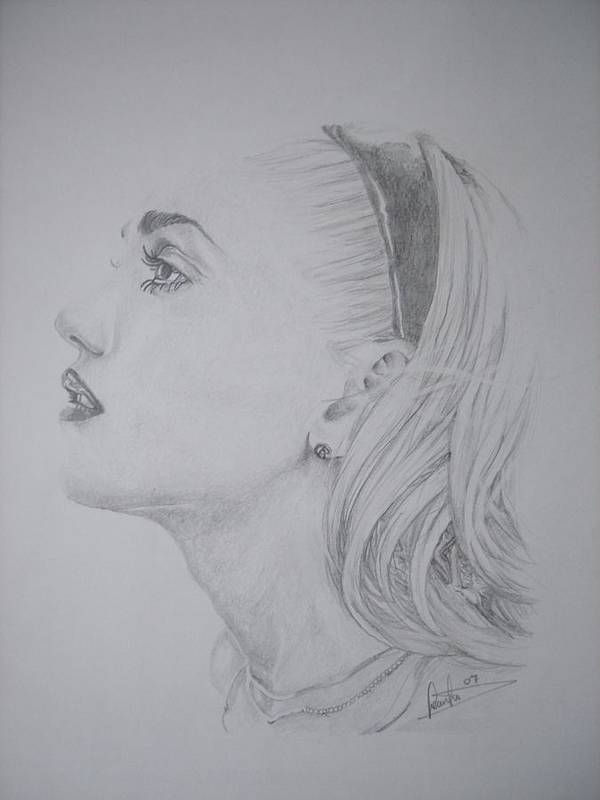 Celeb Portraits Poster featuring the drawing Gwen Stefani by Sean Leonard