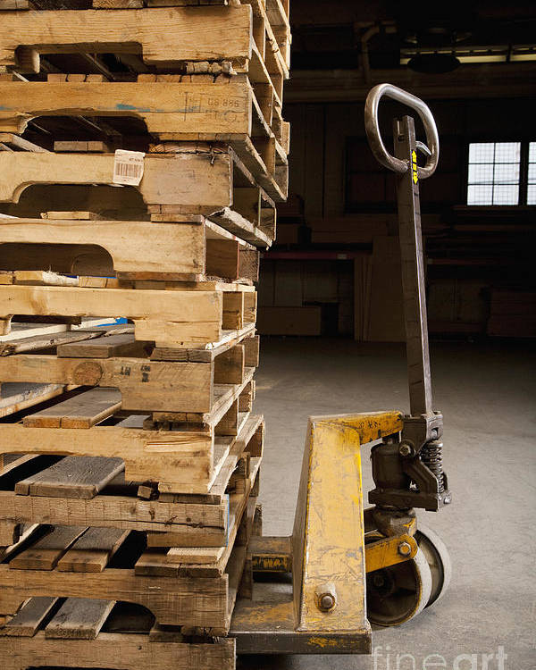 Business Poster featuring the photograph Hand Truck And Wooden Pallets by Shannon Fagan