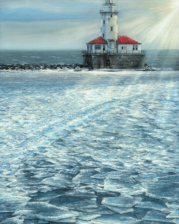Fine Art Poster featuring the painting Harbor Light by Doug Kreuger