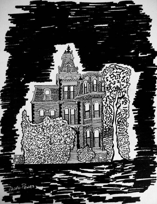 Enchanted Poster featuring the drawing Haunted House by Adolfo hector Penas alvarado