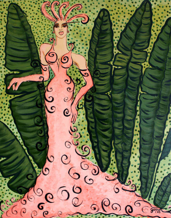 Tropical Artwork Poster featuring the painting Haute Couture Flamingo by Helen Gerro