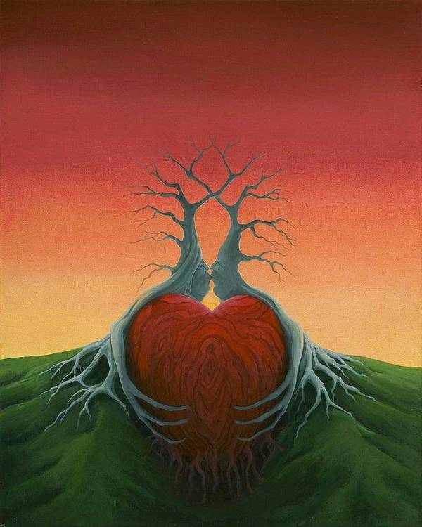Tree Poster featuring the painting Heartwood by Boris Koodrin