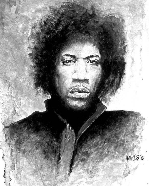 Musician Poster featuring the digital art Hendrix Portrait by William Walts