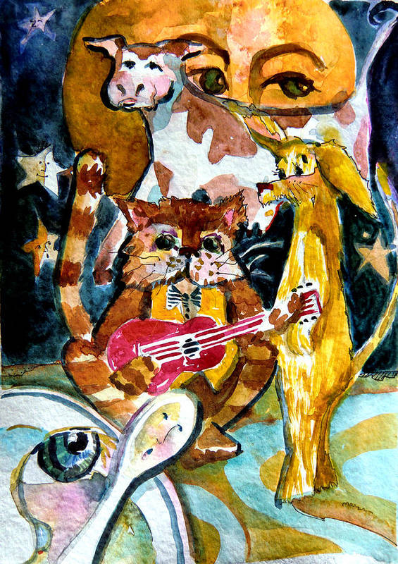 Mother Goose Poster featuring the painting Hey Diddle Diddle by Mindy Newman