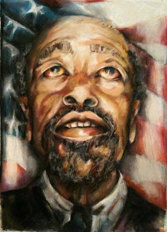 Portrait Poster featuring the painting Homeless Hungry God Bless by Jackie Merritt